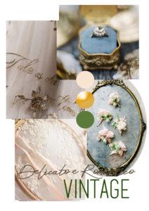 moodboard matrimonio blu vintage