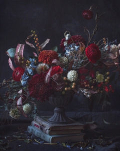 fine art photo vase with flowers, still life