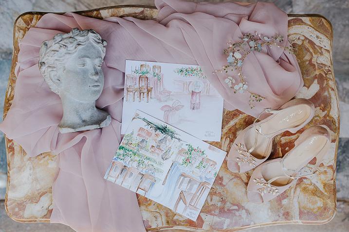 wedding design, wedding sketch, schizzi design matrimonio, scarpe matrimonio rosa cipria,