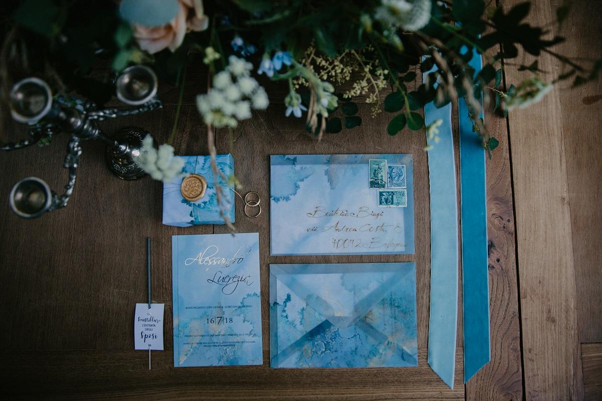wedding graphic suite. pale blue wedding invitation